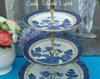 Booths Real Old Willow 3 tier cake stand