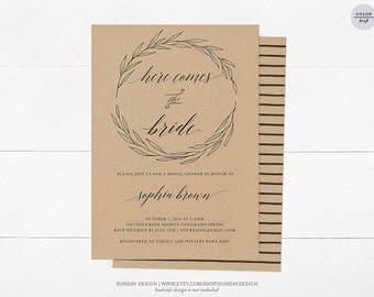 Kraft Leaves Bridal Shower Invitation - DIY Printable Digital File