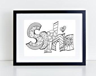 Sophia name art Etsy UK