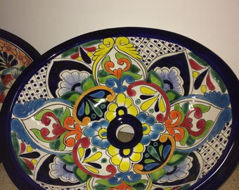 Colorful Hand-painted Talavera Sink - Free Shipping