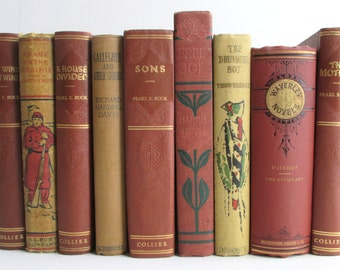 Decorator's Set of Vintage Books - Instant Library in Shades of Rust and Tan for the Adventurous Reader or Savvy Stylist