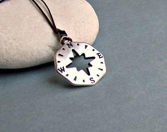 Compass Necklace Pendant,Men's Silver Charm, Cord Necklace Pendant, Adjustable