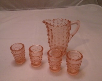 Vintage Set of small pink depressed glass pitcher and 4 glasses