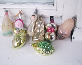 Set of 8 Soviet Christmas tree decoration, Mercury Glass Christmas Glass Ornament - Made in USSR