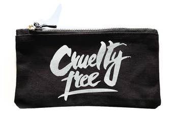 CRUELTY FREE makeup bag, Vegan Veggie ALF protest vegetarian wash bag Cosmetic Bags against Animal testing