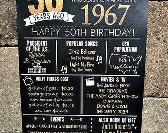PRINTED 50th birthday board, Back in 1967, What Happened in 1967, 50th Birthday Decorations, Black and Gold, 50th Party Decor.  Vintage 1967