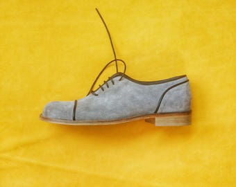 Black and Grey Oxford Men's shoes - Flat Shoes - Mens Shoes - Grey Shoes - Grey Flats - Mens Dress Shoes-  Men Grey Shoes- Black White