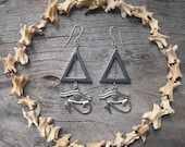 Eye of Ra Hematite Triangle Earrings Witchy Goth Occult Silver Long Statement Egyptian Mythology Geometric