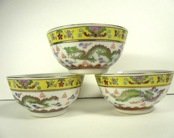 Vintage Set of 3 Chinese Dragon Bowls Fire Hand Painted Multi-color Gold Accents