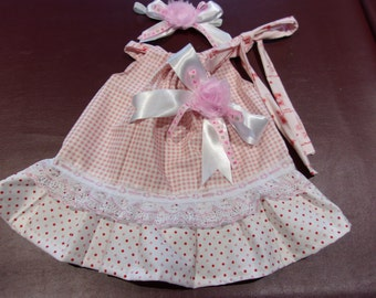 Baby Girl's Pillowcase Style Dress Size 0-3 Months Gingham and Polka Dots with Matching Headband
