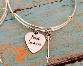 soul sisters  bracelet bangle on a Silver adjustable Bangle /  Collectable Sturdy / great gift  best friends / soul mates
