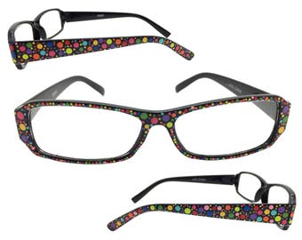 Women's Black 2.75 Strength Reading Glasses with Hand Painted Multi-Color Polka Dots