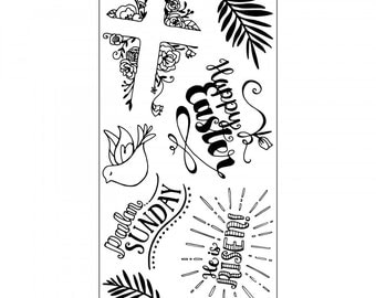 New! Sizzix Clear Stamps - He is Risen - Easter Theme Stamps by Katelyn Lizardi 661999