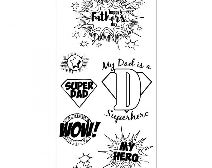 New! Sizzix Clear Stamps - Super Dad - Father's Day Theme Stamps by Jen Long 662005