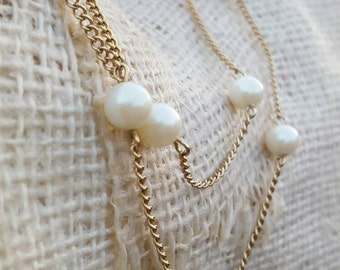 Vintage Sarah Coventry Long  Gold Tone Occasional Faux Pearl Long Necklace/ Double Up Necklace