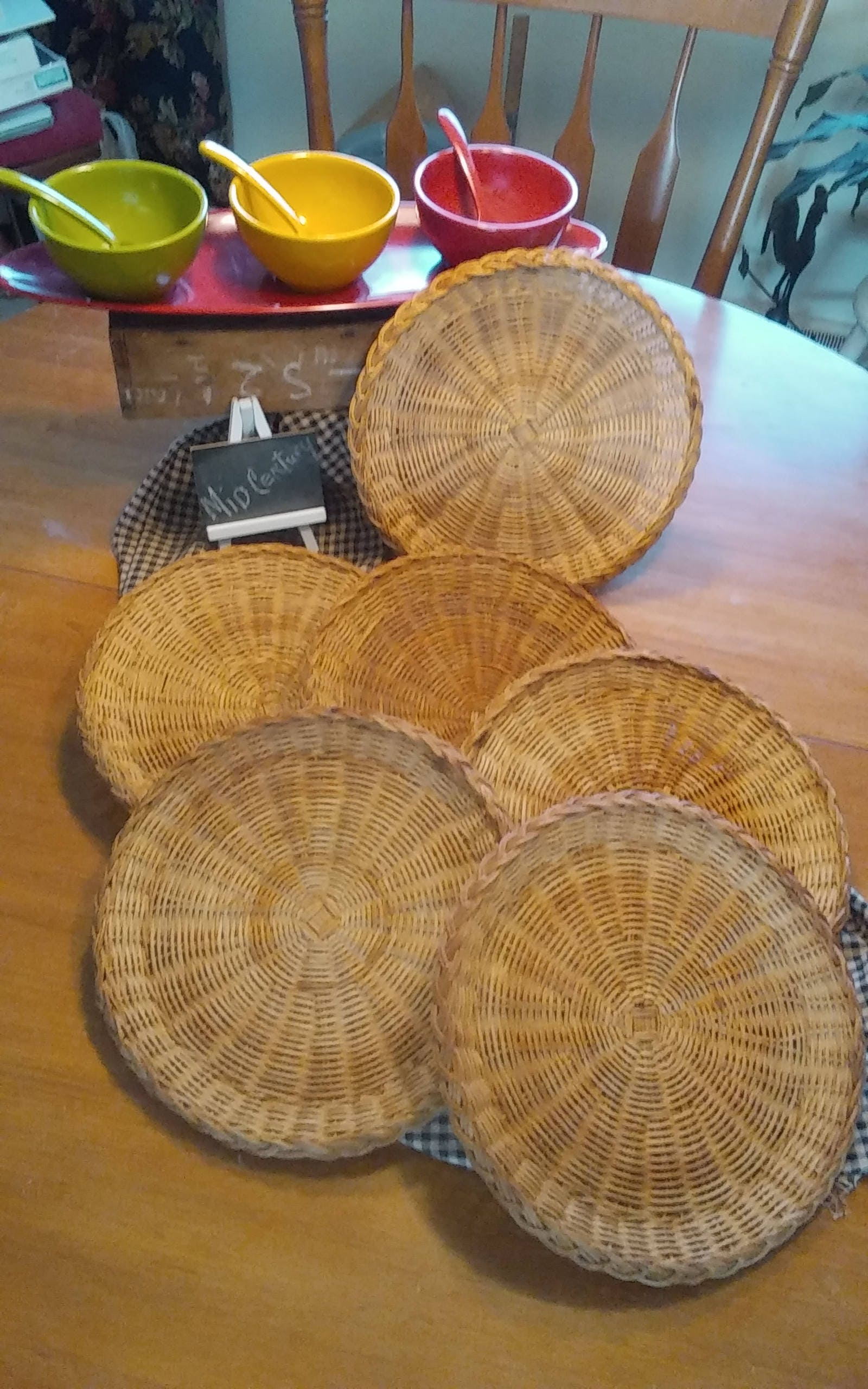 6 Vintage Wicker/Bamboo Paper Plate Holders Rich Natural Wicker Color Kitchen\u0026Dining & 6 Vintage Wicker/Bamboo Paper Plate Holders Rich Natural Wicker ...