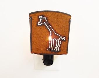 Giraffe  night light cut into rusted metal