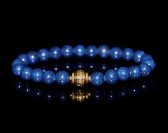 Man's Bracelet, For Men, Lapis Lazuli and Gold Vermeil Bracelet, Men's Bracelet, Bracelet for Men, Mens Bracelet, Mans Bracelet, For Men