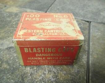 vintage Metal Western  Blasting Caps Empty Tin **  100 no. 6 Blasting Caps Tin Container , Western Cartridge Co. Tin