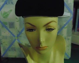 1950 Black Velvet Hat by Mr. John