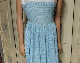 """Blue Checked 1950 Dress, Ribbons on the Bottom, Bust 44"""""""