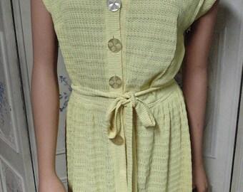 """1940 Yellow Knit Dress, Bust 35"""""""