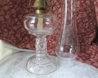 Antique Pressed Glass Oil Lamp with Brass Burner, W B G Corp, Eldorado