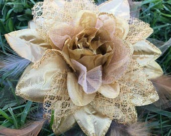 Tulle and Sateen golden and yellow Flower  Brooch