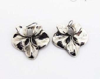 Large Figural Orchid Flower Dangle Earrings Sterling Silver