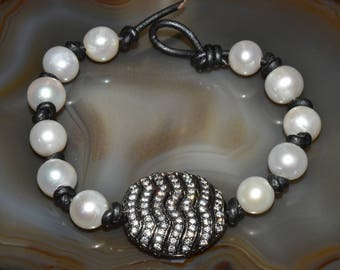 Luxe Freashwater Pearl & White Topaz Sterling Beaded Leather Bracelet