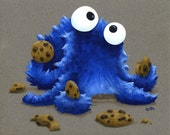 Cookie Monster Octopus - Fine Art Giclee Print