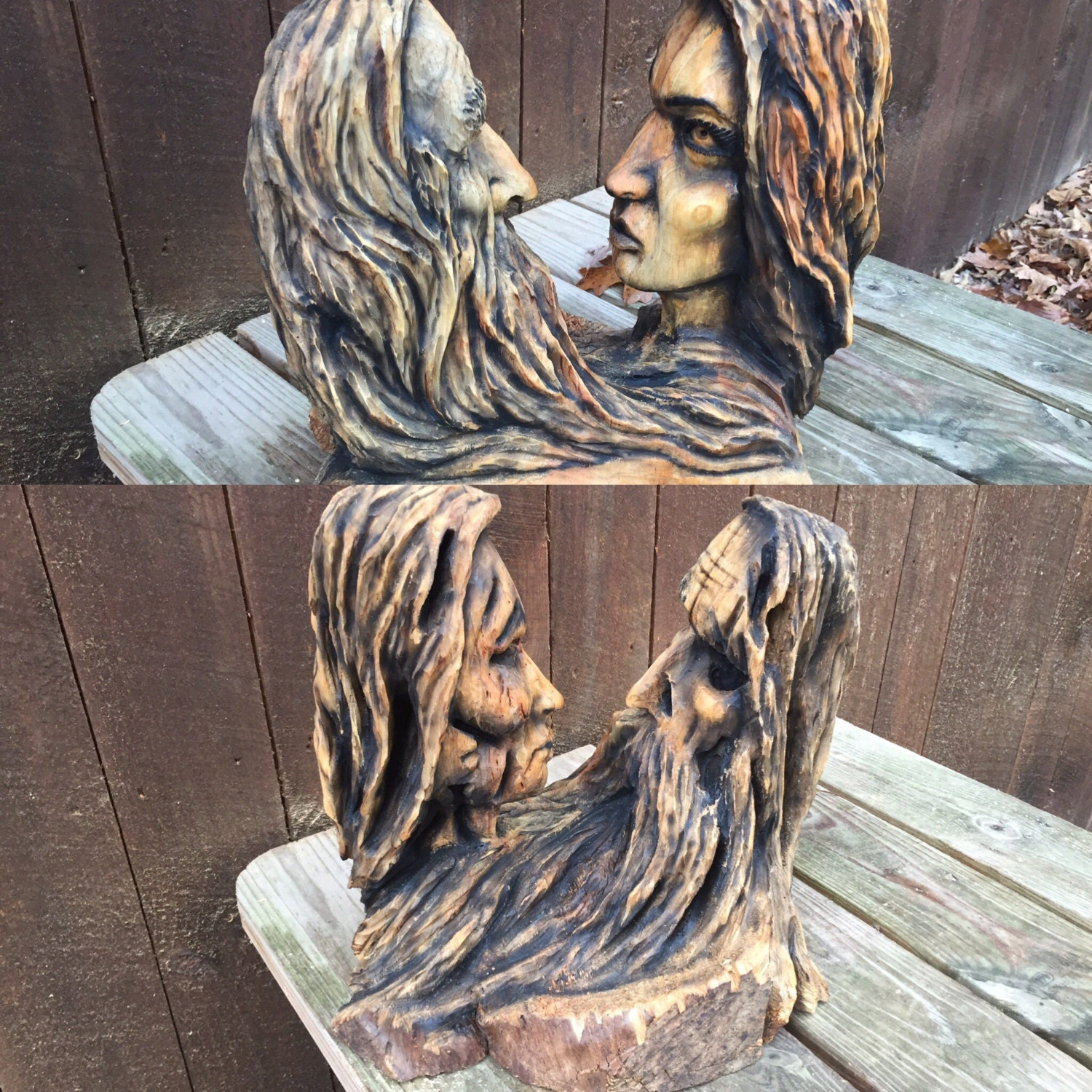 Hand carved wood sculpture anniversary gift