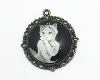 1 ballerina cat glass pendant,bronze tone ,34mm x 37mm # CH 216