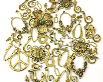BULK, 45 charms gold tone mix16mm to 50mm # CH 610