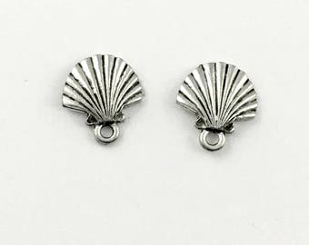 1 shell post earring pweter with back stopper  12mm #FIN E 001