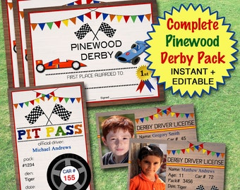 20% OFF EDITABLE Pinewood Derby Pack INSTANT Download, Boy Scouts, Cub Scouts Pack Meeting Den Activity Printable Pinewood Award Certificate