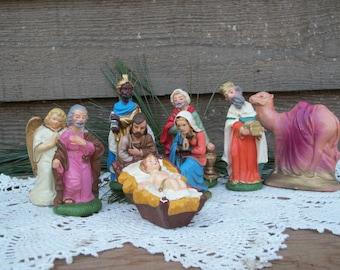 Vintage Nativity Scene, Creche, Italian Nativity Set, Christ's Nativity Plaster Figurines