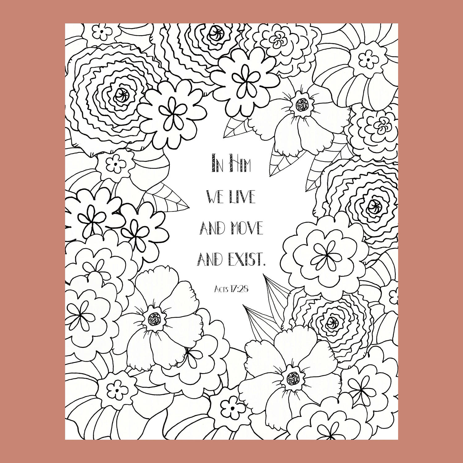 Acts 1725 Coloring Page Bible Verse Christian Scripture Floral