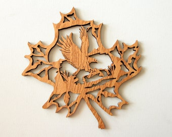 Wood laser cut wall decor - eagle with fish in a maple leaf sign