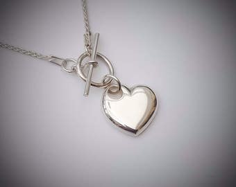 Sterling Silver Heart Pendant/Necklace (Small): UK Handmade