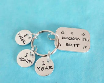 Handstamped unique Motivational quit smoking keyring comes complete with 3 tags