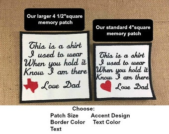 2 Memory Pillow Patches - IRON ON Memory Patch, 2 Sizes, This is a shirt I used to wear, In Memory Of, Shirt Pillow Patch, Memory Patch
