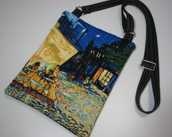 "Canvas Cross Body Purse, Van Gogh ""Cafe Terrace on the Place du Forum"", Small Shoulder Bag , Quiltsy Handmade"