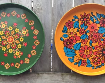 Retro Floral Trays