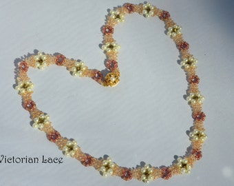 TUTORIAL ONLY: Victorian Lace Beadwoven Necklace (Level 2) Modified Right Angle Weave Stitch (MRAW)