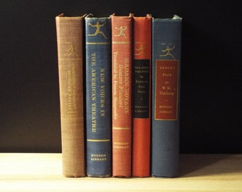Decorative Small Books - Book Shelf Decor - Book Collection - Vintage Books By Modern Library - 1950s Books