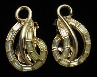 Bergere Peridot Rhinestone Earrings Vintage