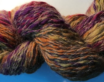 Hot Toffee - Hand spun Mohair and Corriedale Wool Yarn - 5-8 ply sport-DK