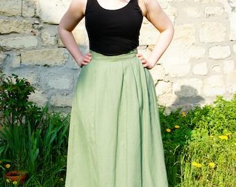 Nice long skirt, light green army linen