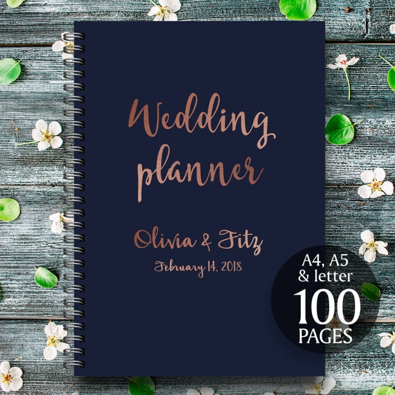 Printable wedding planner, Copper wedding planner, Copper wedding binder, Wedding checklist, Copper wedding organiser, Copper wedding kit